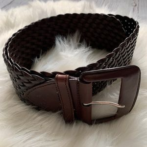 Leather Braided Wide Accent Small Waist Belt